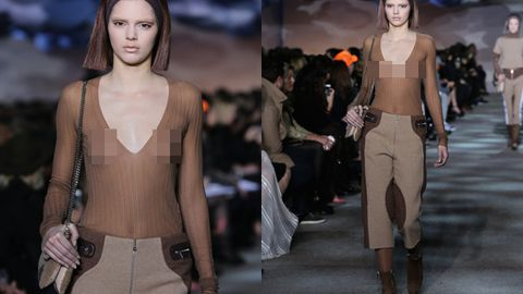 Kendall Jenner bares nipples on first runway show ever at New York Fashion Week