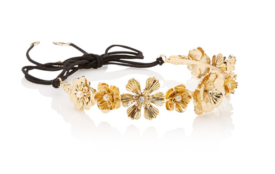 "<p><a href=""http://www.sportsgirl.com.au/accessories/gold-floral-hair-garland-gold-all"" target=""_blank"" draggable=""false"">Sportsgirl Gold Floral Hair Garland, $24.95</a>.</p> <p>Bird's nest hair? No problem. Pull it back into a messy bun and pop this gorgeous garland on. Hey presto - beautiful.</p>"