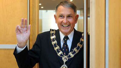 Former Gold Coast mayor Ron Clarke after his swearing-in ceremony on the Gold Coast in 2008.