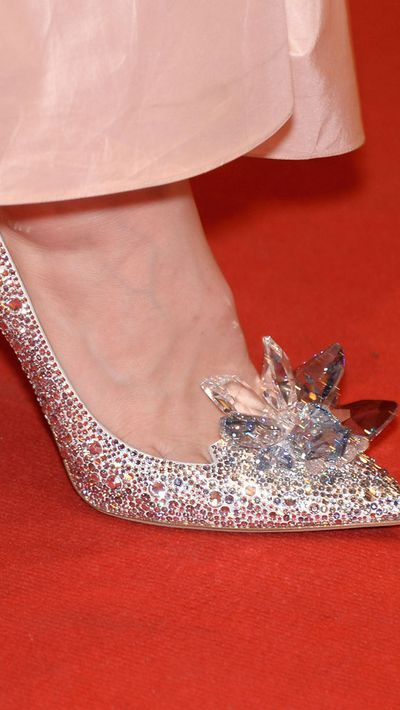Lily rocks the limited edition pumps created by Jimmy Choo for the film's release