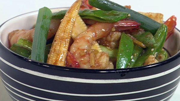 Honey prawn stir-fry