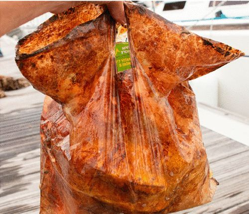 The bag was able to hold 2 kilograms of groceries after three years under water.