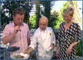 Rafael A Nazario cooking with Luke Mangan and Jessica Rowe
