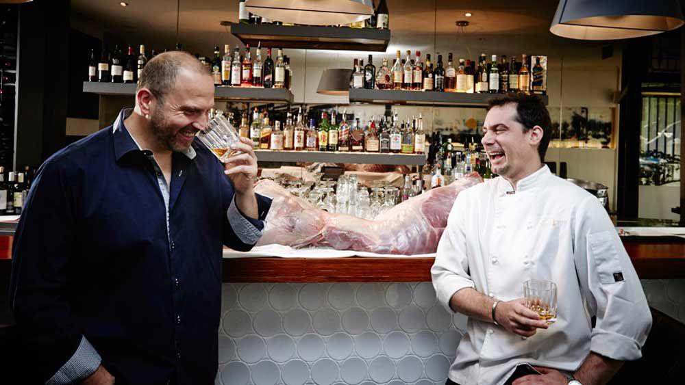 Erez Gordon and chef Paul Cooper at Bishop Sessa