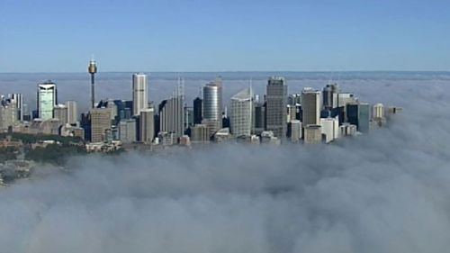 The city's skyscrapers shrouded in fog. (9NEWS)