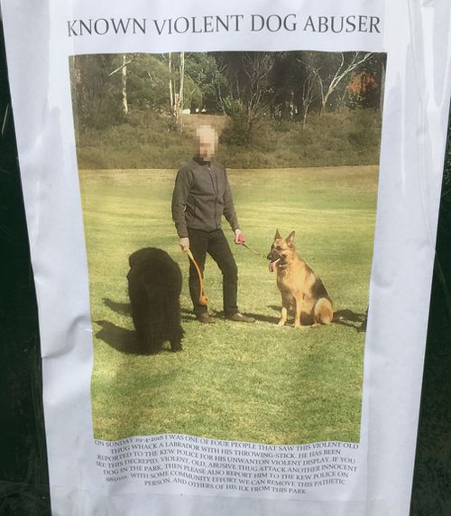 """A poster calling for action against the so-called """"violent dog abuser""""."""