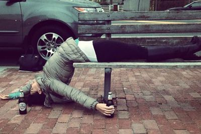 Our favourite yoga pose! The 'I'm-so-drunk-I-passed-out-on-a-bench' pose... *applauds*