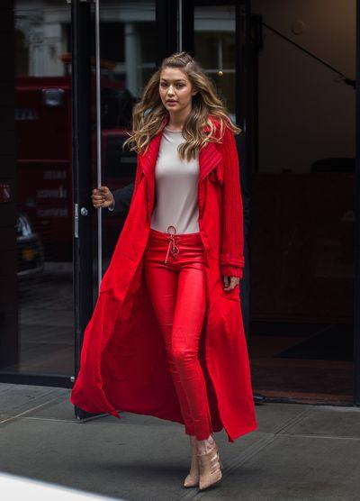Gigi Hadid leaving her house during New York Fashion Week in February