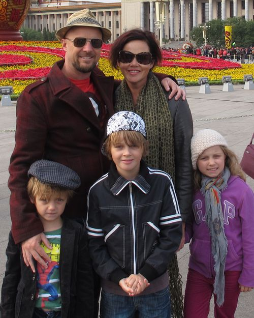 Anthony Maslin and Rin Norris with their children Otis, Mo and Evie, who were killed on flight MH17 when their plane was shot down over Ukraine after returning from a holiday to Amsterdam.