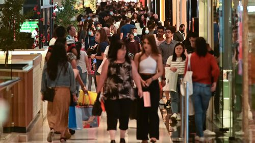 Shoppers are seen at Westfield during Boxing Day in Parramatta
