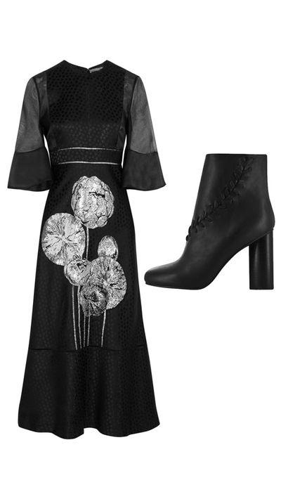 "<p>Dress: <a href=""http://www.net-a-porter.com/au/en/product/546159"" target=""_blank"">Silk Organza-Paneled Floral-Jacquard Midi Dress, $8,369, Alexander McQueen</a></p><p>Boots: <a href=""http://senso.com.au/collections/women/products/sara-iii-1"" target=""_blank"">Sara II Boots, $295, Senso</a></p>"