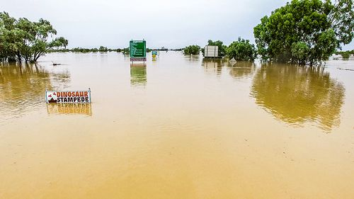 Winton has been completely isolated by the torrential rainfall, which has caused floodwaters to rise as high as 3.7m deep (Supplied).