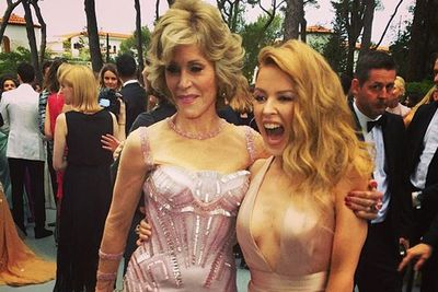 @kylieminogue: Could not contain my excitement!! #janefonda #cannes2014