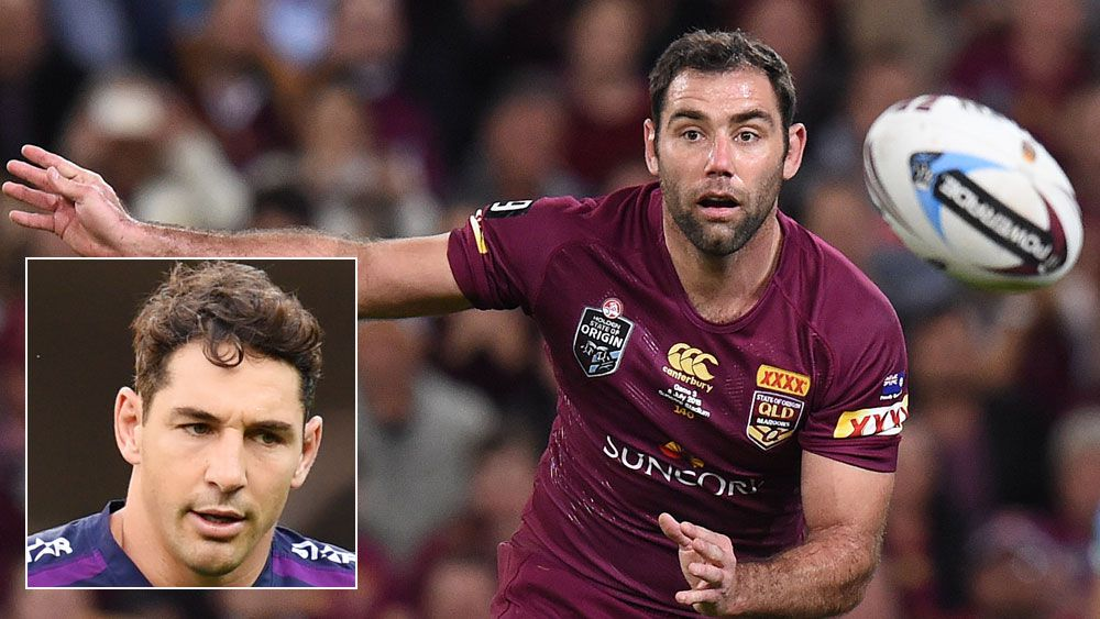 Cameron Smith in action for Queensland and (inset) Billy Slater. (AAP)