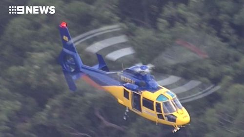 Search helicopters in the skies this afternoon. (9NEWS)