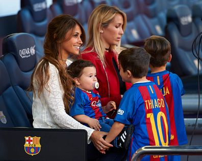 Sofia Balbi (R) wife of Luis Suarez and Antonella Roccuzzo, wife of Lionel Messi prior the La Liga match between FC Barcelona and Villarreal CF at Camp Nou Stadium on May 6, 2017