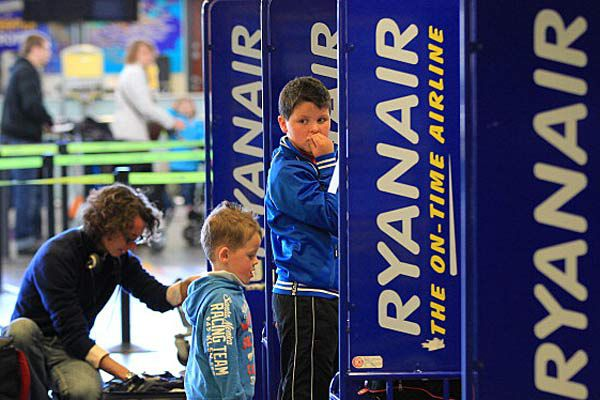 Ryanair check-in counter at airport