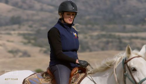 The 39-year-old is a competitive equestrian.