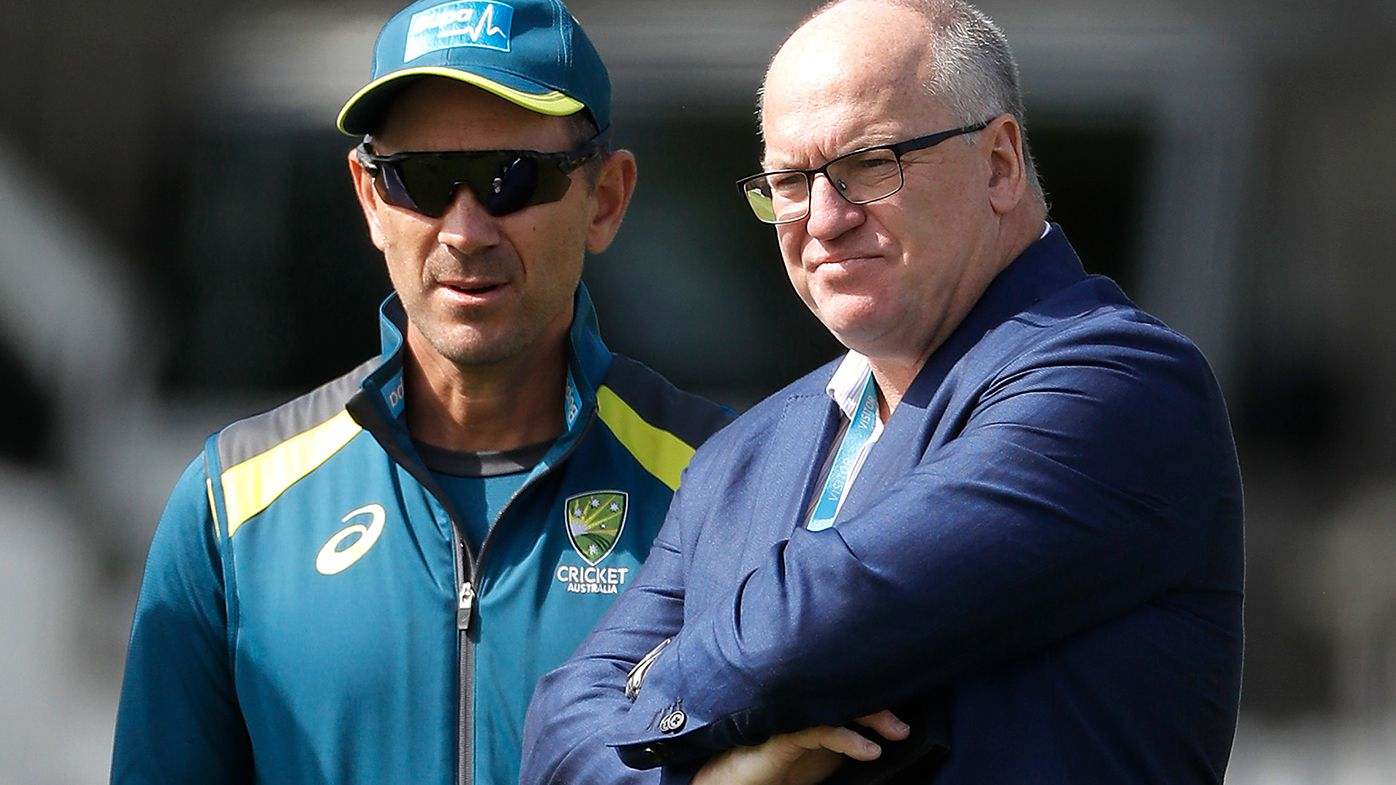 National coach Justin Langer with outgoing chairman of Cricket Australia Earl Eddings.