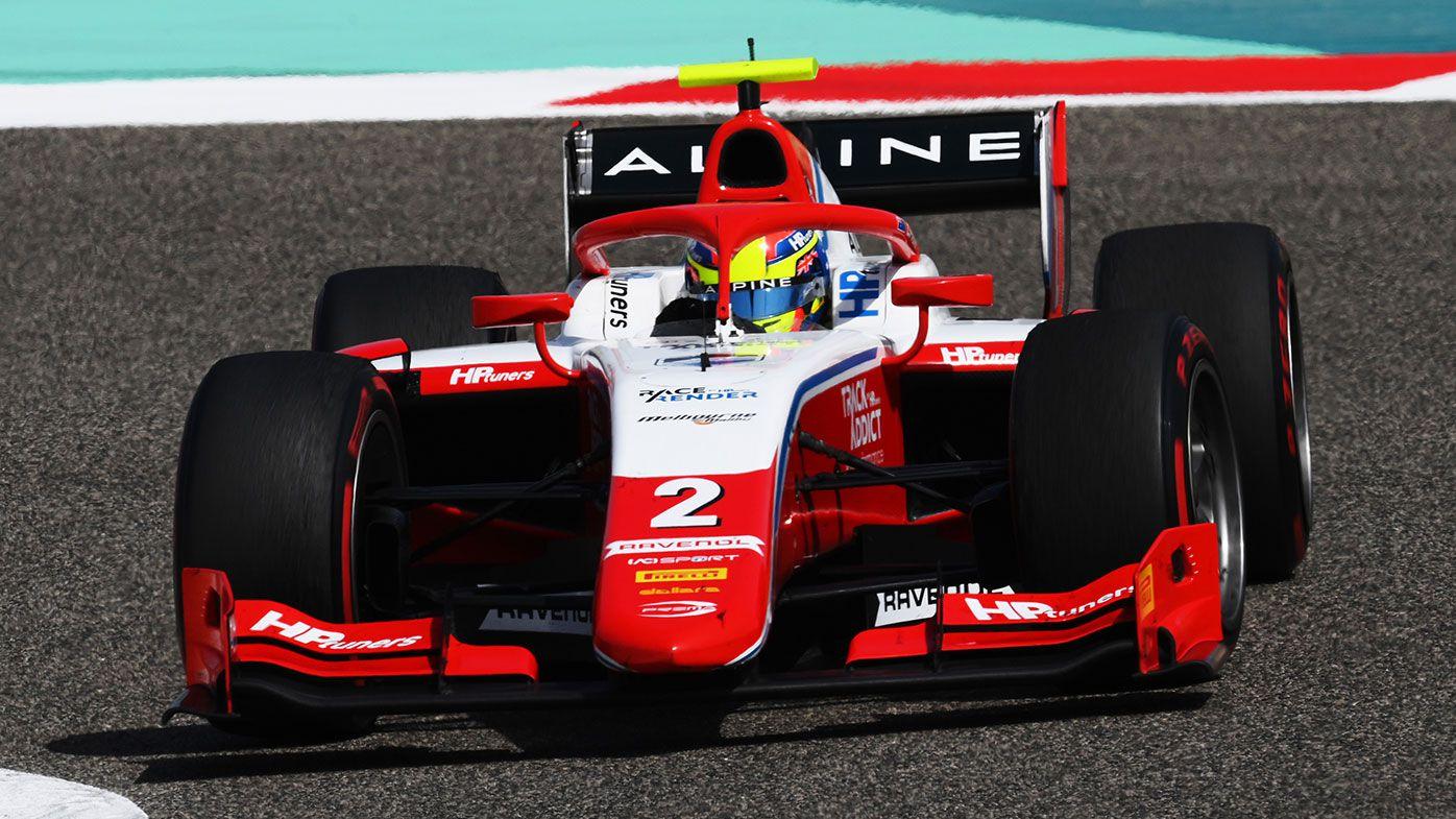 Oscar Piastri driving in the Bahrain F2 race for Prema Racing.
