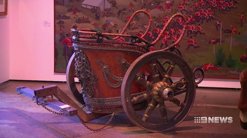 A fully functioning chariot from production on Gladiator. (9NEWS)