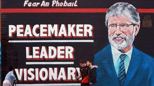 A newly-painted mural of Gerry Adams in Belfast. (AAP)