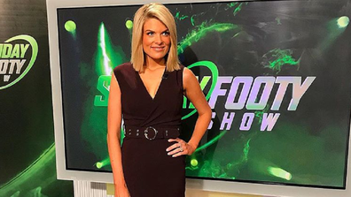 Erin on the set of Nine's The Footy Show.