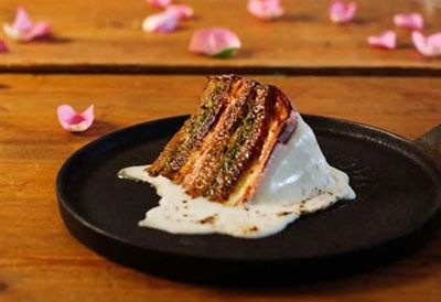 Lunch: Jarlsberg wedding cake Reuben sandwich