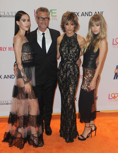 Amelia Gray Hamlin, Harry Hamlin, Lisa Rinna and Delilah Belle arrive for the 24th Annual Race To Erase MS Gala held at The Beverly Hilton Hotel on May 5, 2017 in Beverly Hills, California.