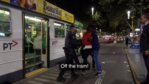 Police interceded with youths on the tram.