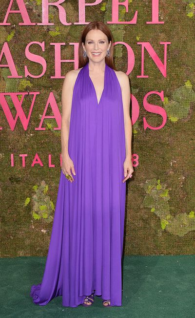<p>Actress Julianne Moore wears a customSalvatore Ferragamo gown.</p> <p>This bespoke gown has beenmade from 'perPETual' fabric, named this way because it is made from post-consumer PET bottles transformed into jersey by a patented polymerization process. perPETual has developed breakthrough proprietary recycling technology (ReNEW process), to transform 100% postconsumer-waste plastic bottles in to 100% recycled polyester filament yarn.</p>