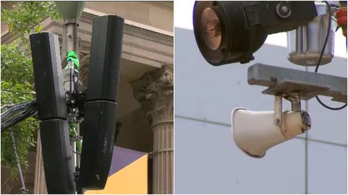 Dozens of the speakers were installed across the city late last year. (9NEWS)