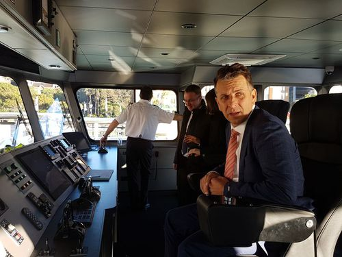 Andrew Constance on board one of his ferries last year. (AAP)