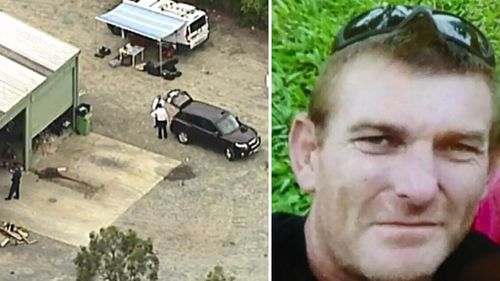 Police investigating a shed (left), and Greg Dufty (right). (9NEWS)
