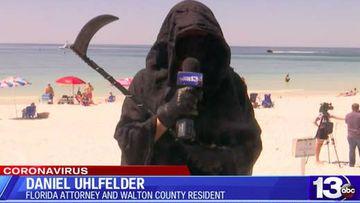 'Grim Reaper' Daniel Uhlfelder is protesting beaches in Florida re-opening