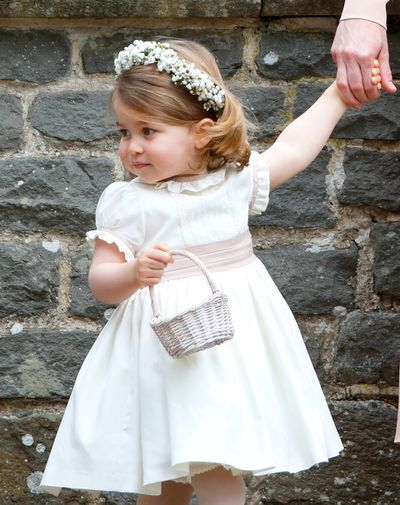 Princess Charlotte attends the wedding of Pippa Middleton and James Matthews at St Mark's Church on May 20, 2017.
