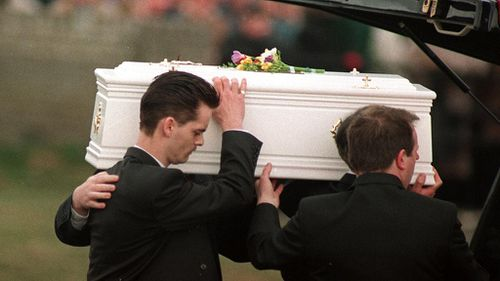 Little James' casket at his funeral.