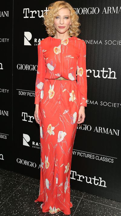 Blanchett wore&nbsp;<strong>Giorgio Armani</strong> to a screening of <em>Truth </em>at New York's MOMA.