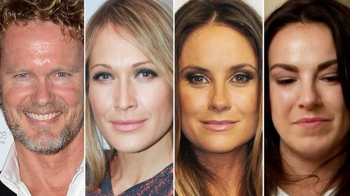 Craig McLachan and the three women who have accused him of indecent assault and sexual harassment, Erika Heynatz, Christie Whelan and Angela Scundi. (AAP/ABC)