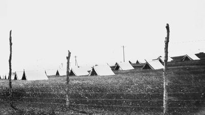 Tents erected during the Spanish influenza pandemic, 1919.