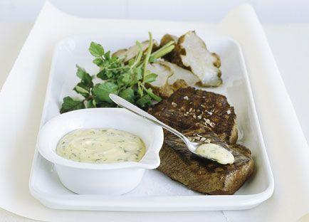 Char-grilled wagyu tri-tip with Jerusalem artichokes and olive oil and soft-herb hollandaise