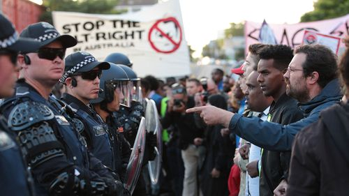 Left and right-wing protesters clashed for four hours outside Milo's speaking event. (AAP)