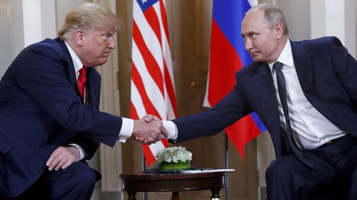 Donald Trump and Vladimir Putin at their July 2018 meeting in Helsinki.
