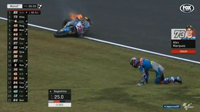 Terrifying MotoGP crash leaves bike engulfed in flames