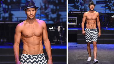 Model Jason Dundas rocked the runway wearing a fedora as part of an outfit designed by The Rocks Push. (AAP)