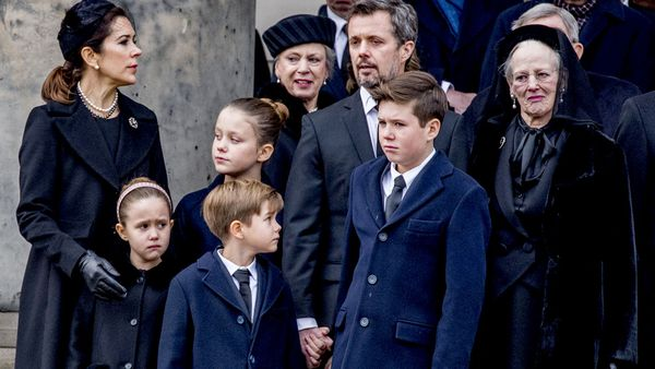 Queen Margrethe II, her sister Princess Benedikte of Denmark, Crown Princess Mary, Crown Prince Frederik, Princess Josephine, Princess Isabella, Prince Christian, Prince Vincent. (AAP)