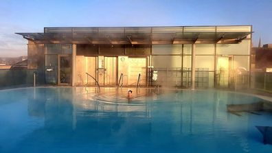 The rooftop pool at the Thermae spa in Bath