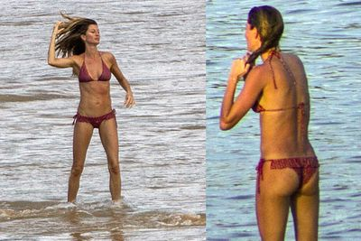 Gisele Bundchen hits the surf on a private beach! It's alright for some...<br/><br/>(Images: Splash)