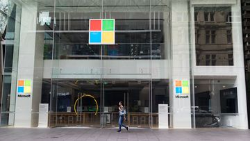 The Microsoft store in Pitt Street Mall, Sydney, has been closed due to the coronavirus pandemic. 7th April 2020