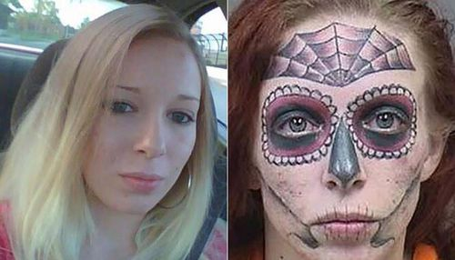 Astonishing spider web and skull tattoo of alleged shoplifter in Ohio